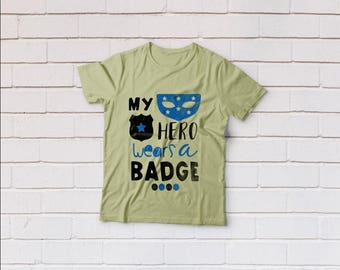 Thin blue line svg, My hero wears a badge svg, Police svg, Daddy svg, SVG Files, Cricut, Cameo, Cut file, Files, Clipart, Svg, DXF, Png, Eps