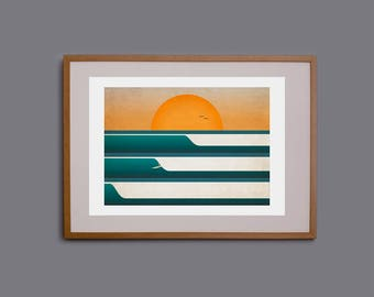 Surf art, waves, wall art, surf decor, surf illustration, Cornwall, surfer, giclee print, sunset, surfer at sunset, beach theme
