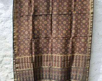 Special Handwoven Ajrak Zari Border Silk Dupatta