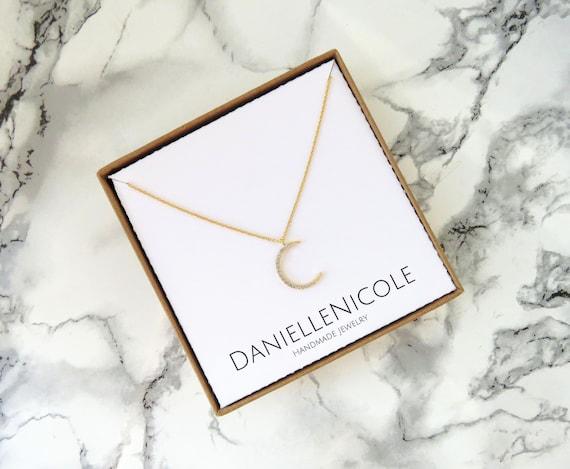 Dainty CZ Crescent Moon Necklace, Dainty Necklace, Dainty Jewelry, Pendant Necklace, Everyday Jewelry, Layering Necklace, Boho Necklace