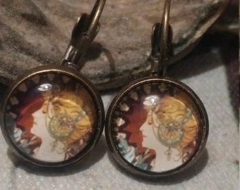 Alphonse Mucha earrings. Art earrings. Mucha jewelry. Alphonse Mucha. Art nouveau earrings.