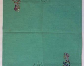 Embroidered Fautley's tray cloth No 1929 - Crinoline lady in garden - Australian made