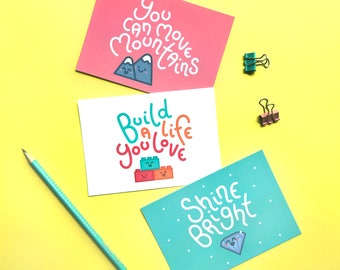 Motivational quotes postcard set - pack of 3, shine bright, A6 prints, best friend gift, office decor, positive quotes, cute stationery