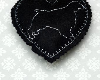 Embroidered heart, felt heart,  hanging heart, machine embroidered heart, spaniel, dog