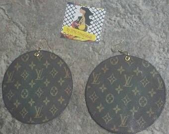 Free shipping - Custom Handmade Classic Monogram Louis Vuitton LV Inspired - Image Statement Art Earrings - Chocolate Brown Leather- ARO700