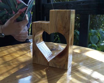 Candle holder, Heart shaped candle holder, Wooden candle holder, Tea light candle holder, Tea light holder, Candle holder centerpiece