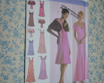 Simplicity 4875 Misses Dress in Two Lengths and Capelet Sewing Pattern  UNCUT Size 4 6 8 10