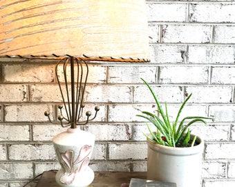 Vintage Mid Century C. Miller Ceramic Lamp | Atomic Era Sputnik Lamp | Heart Design Desk Lamp | Art Deco Night Stand Lamp | MCM Atomic Lamp
