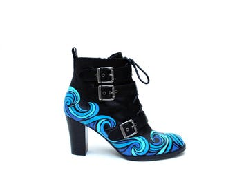 Blue Wave Hand Painted Upcycled Women's Leather Ankle Boots