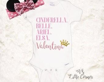 Disney Princess Shirt or onesie Personlized Kids Disney Shirt Cinderella Elsa Belle Ariel Frozen Shirt Little Mermaid Disney