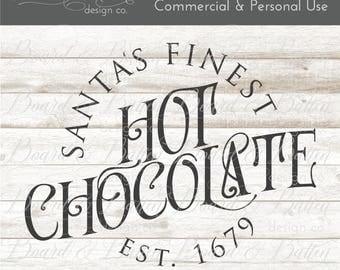 Hot Chocolate Svg File - Christmas Svg Vintage - Holiday Svg Files - Christmas Cutting Files - Santa Svg, Christmas Svg Files for Silhouette