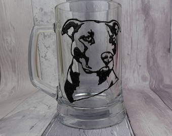 Pit bull glass tankard, Hand painted pint glass, Staffordshire Bull Terrier, Gift for Dad, Father's Day gift, Gift for him, Birthday gift