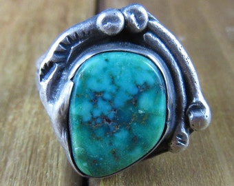 Vintage Chrysocolla Southwest Ring Size 6 1/2 Native American Navajo 6.8 Grams