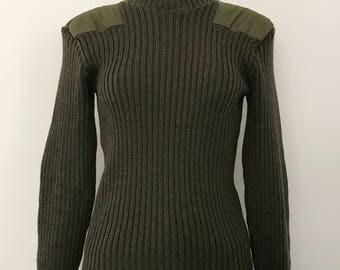 LLBean/ military sweater / army sweater / khaki sweater / vintage sweater / ribbed sweater / green sweater / wool sweater / made in england