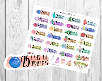 CHRISTMAS COUNTDOWN Stickers, Planner Stickers