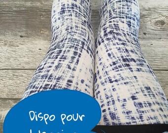 Leggings for women - white and blue