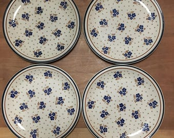 Dark Blue Flower Pattern Stoneware Plates (4) / Boho Kitchen / Newcor