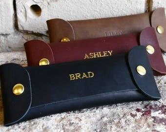 Custom Leather Pencil Case. Personalized Pencil Organizer