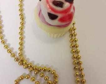 Rasberry Chocolate Chip Cupcake Polymer Necklace