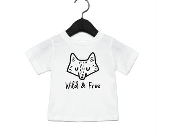 Wild & Free Fox - Youth Shirt Toddler Shirt Baby Onesie - Wilderness Camping Fox Animals Cute T-shirt Woods Hair Tree Wood Tee