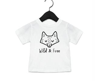 Wild & Free Fox - Youth Shirt Toddler Shirt Baby Onesie - Wilderness Camping Fox Animals Cute T-shirt Woods Hair Tree Wood Tee