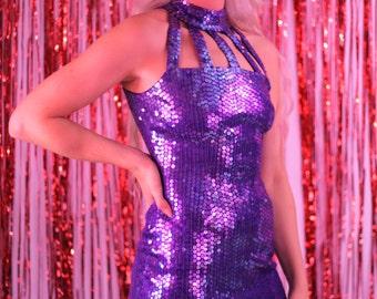 Vintage / 80's Purple Sequin Party Dress