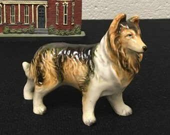 Very Handsome 1950s Collie Dog Figurine - Made In Japan