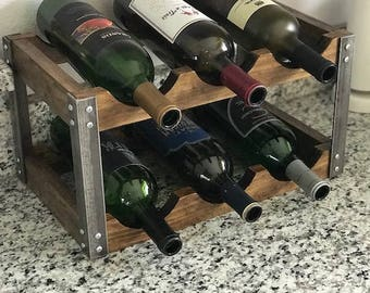 Industrial Wine Rack - Rustic - Fits on counter top