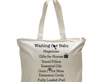 WAITING FOR BABY-List to Pack Printed on the Bag! Baby Gift, Mom to Be Gift,Pregnancy Gift,Gift for Her,Baby Girl,Baby Shower, Free Shipping