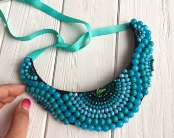 Turquoise statement necklace, turquoise stones necklace, blue necklace, wedding necklace, bridesmaid jewelry, wedding jewelry for brides