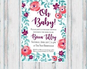 Floral Baby Shower Invitation. Printable.