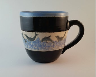Pottery Mug, extra large blue and black mug with carved dolphins, sgraffito, gift 25 and under