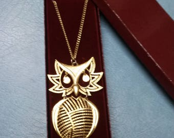 Vintage Costume Jewelry-Owl Necklace