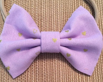 Purple with Shimmery Gold Hearts Bow