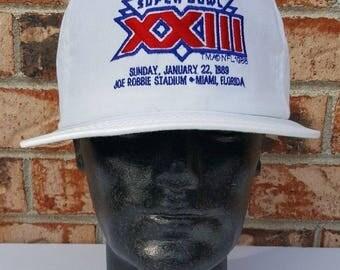 Vintage 80's NFL Super Bowl XXIII White Snapback Hat Miami, Florida