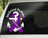 Prematurity Awareness Car Decal - Purple Anchored In Hope Anchor Decal - Tumbler Decal - Preemie Decal - Preemie Awareness