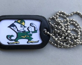 Notre Dame Dog Tag Necklace,added some new images