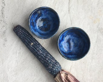 White and Cobalt Salt Bowls