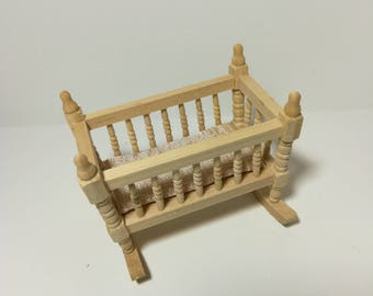 Dollhouse Miniature Unfinished Wood Rocking Cradle for Nursery 1:12 Scale Furniture
