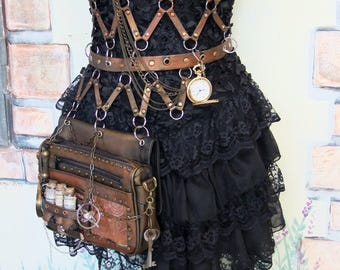 steampunk   corset leather with bag