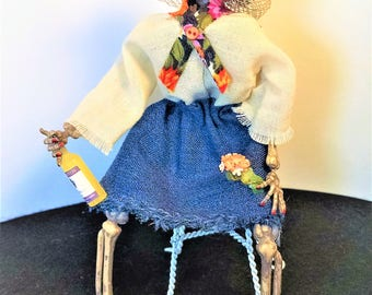 Miniature Day of the Dead figure - Maria 1:12 dollhouse miniature