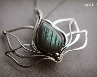 Hair slide brooch Wire wrap pendant Bridal barrette hook accessory Lotus flower Transformer labradorite jewelry Beauty gift Nature inspired