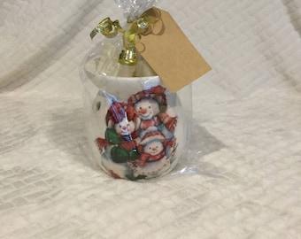 Wax burner gift set oil burner gift set wax melts snowmen Christmas theme decoupage candle  stocking filler gift