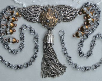 French Flight - Reconstructed Jewelry Assemblage Necklace with Sterling and Marcasite Wings and Handmade Tassel Antiqued Silver Tone