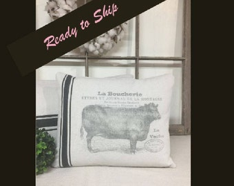 Grain Sack Pillows, Farmhouse Pillows, Throw Pillows, Farm Animal Pillow, Throw Pillow, Decorative Pillow, French Grain Sack, Ticking Pillow