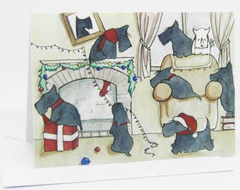 Scottie Christmascard / Scottish Terrier Chistmascard / Dog Christmas Cards / Scottie Dog Card / Card For Dog Lovers / Cute Puppy Card