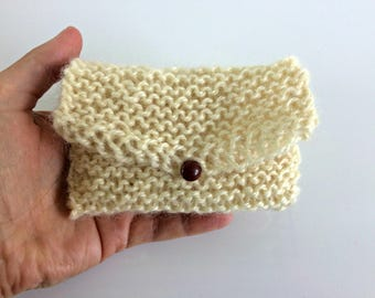 Gift card envelope, organic undyed wool, hand knit card holder, gift card wallet, business card holder, knitted gift bag, eco-friendly knit