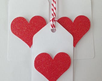 Red glitter heart gift tags/party favor tags
