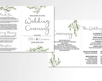 Folded Simple Greenery Wedding Program // Custom Program // Folded Wedding Program // Wedding Stationery // Laurels // Greenery // Leaves