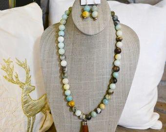 Glossy Amazonite and Suade Fringe Necklace